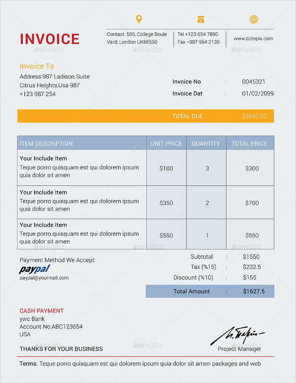 Business Accounting Invoice