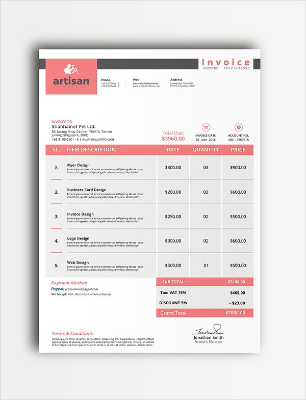 Business Invoice Templates PSD Word PDF Documents Download - Business invoice template
