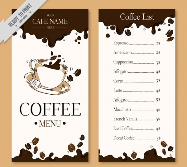 Cafe Menu Template Restaurant Cafe Takeout Menu Template High