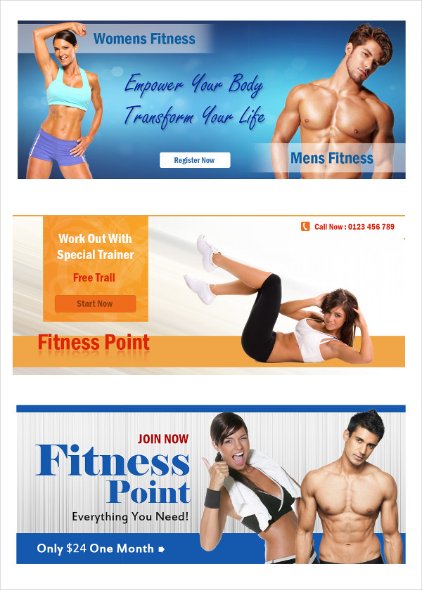 Fitness banners free psd ai eps vector format