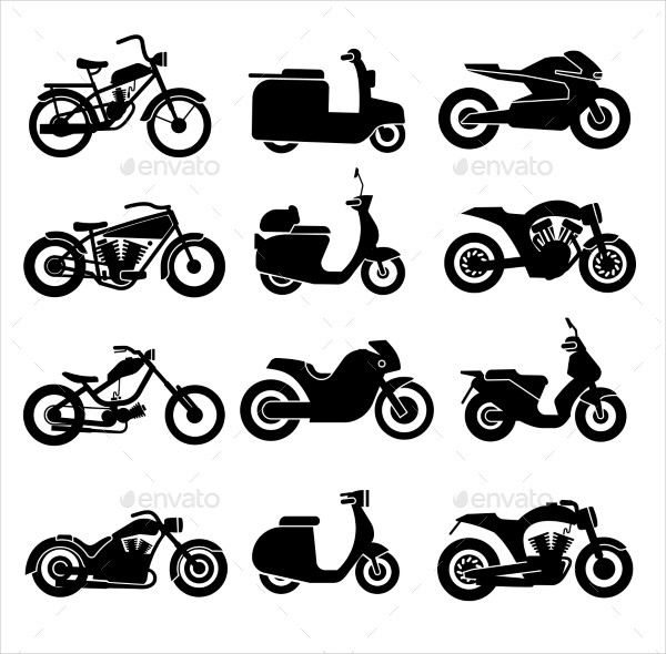 Motorcycle Black Icons Set