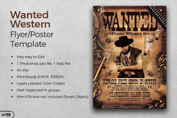 Wanted Western Party Flyer Template