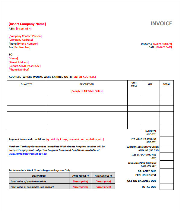 Invoice Templates   Free Word Pdf Documents Download