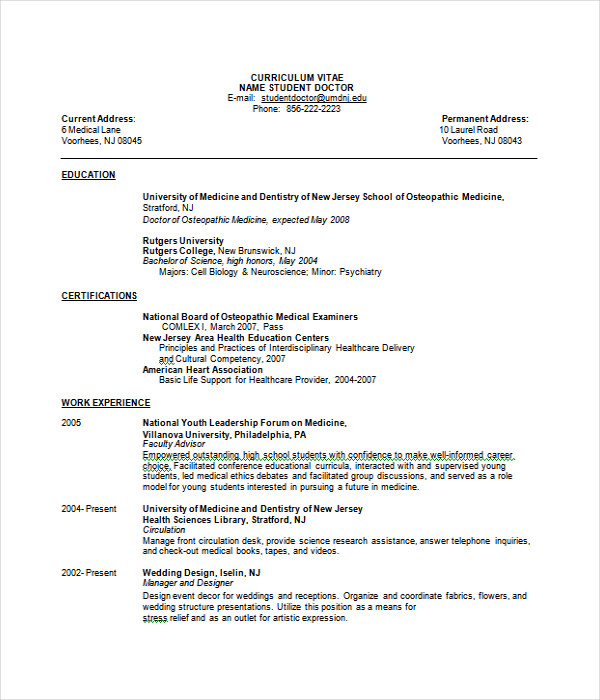 doctor resume template - Doctor Resume Template