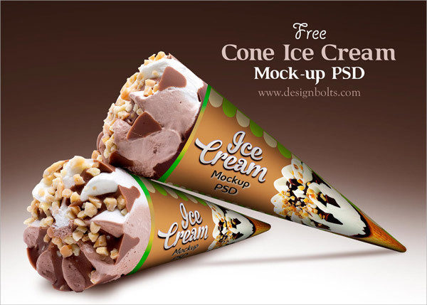 Free Cone Ice Cream Packaging Mockups PSD