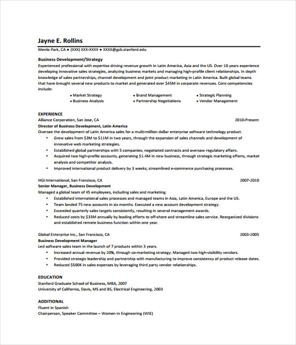 Free Download Business Resume