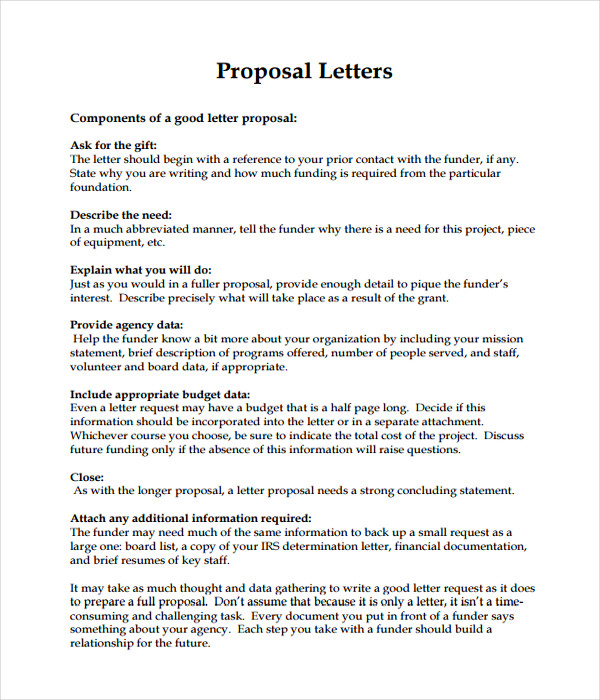 Letter Templates 17 Free Word PDF Documents Download – Writing a Proposal Letter for a Project
