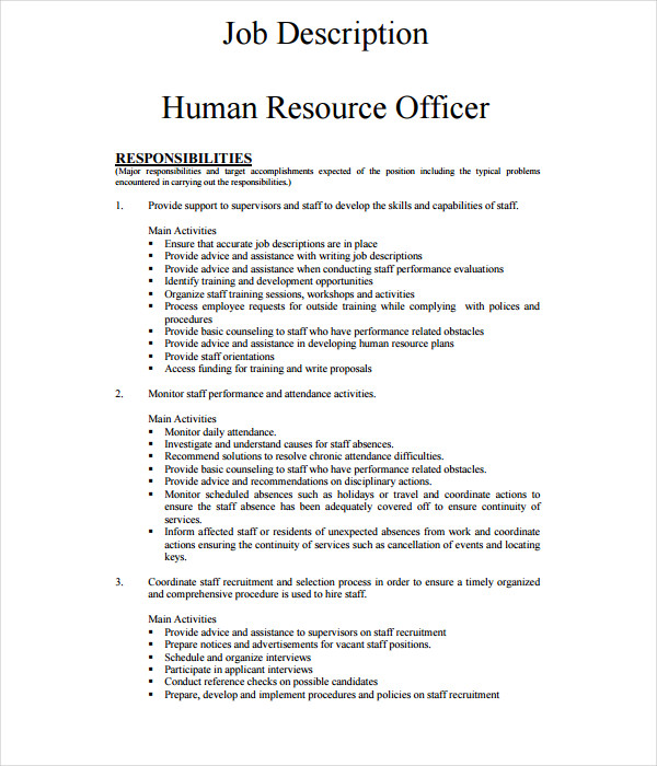 21 job description templates free word pdf documents for Training officer job description template
