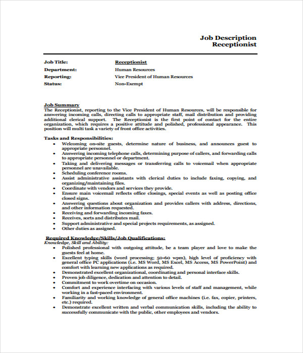 Receptionist Job Description Receptionist Job Description Template
