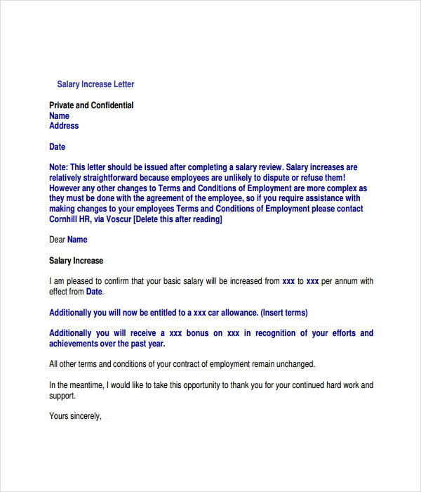 Salary Review Letter Template Printable Sample Business Letter
