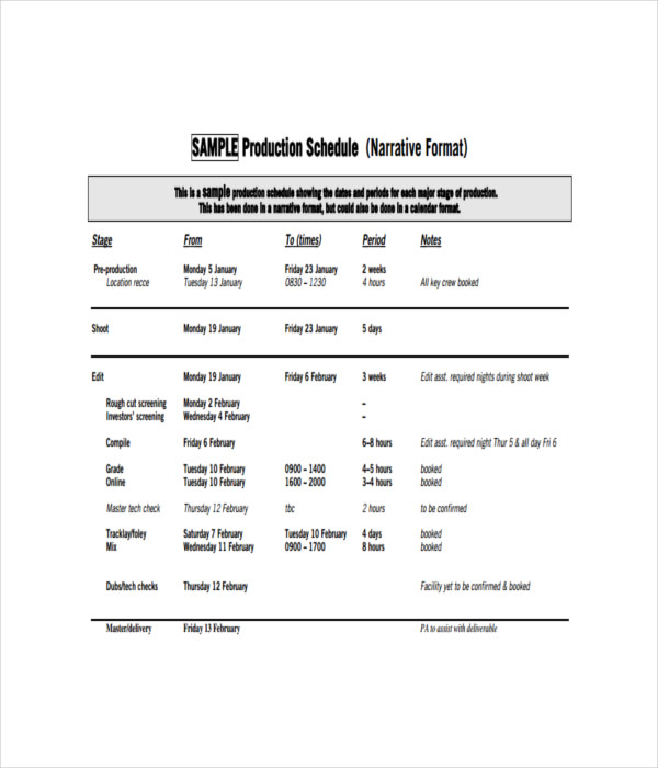 Schedule Templates - 21+ Free Word, Pdf Documents Download