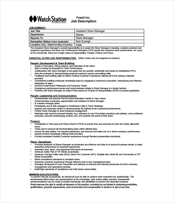Job Description Templates 21 Free Word PDF Documents Download – Store Manager Job Description
