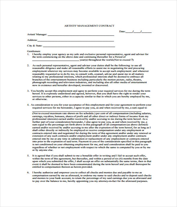 Contract Templates  Free Word Pdf Documents Download
