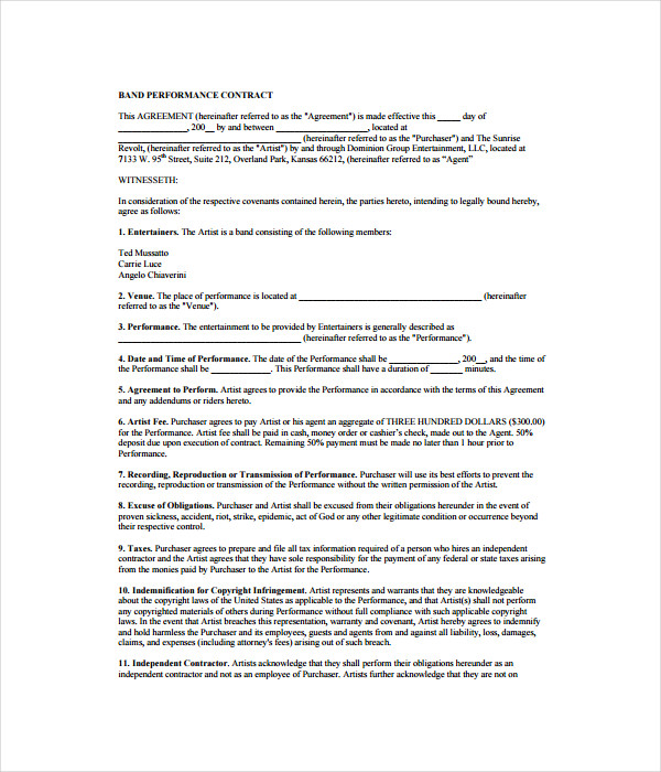 Contract Templates 21 Free Word PDF Documents Download – Performance Contract Template