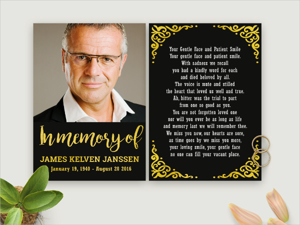 Funeral Black & Gold Stationery Template