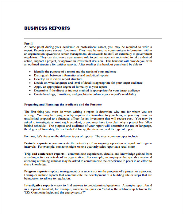 Doc585600 Business Report Template 8 Business Report Template – A Report Template
