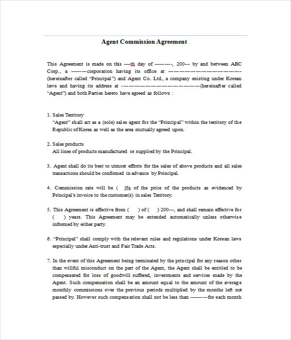 sales commision agreement template - agreement templates 31 free word pdf documents download