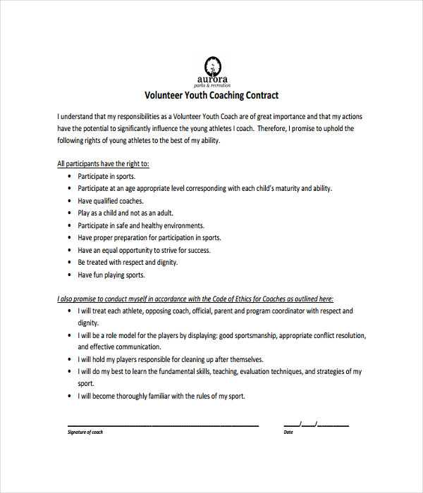 21 contract templates free word pdf documents download for Coaching contracts templates