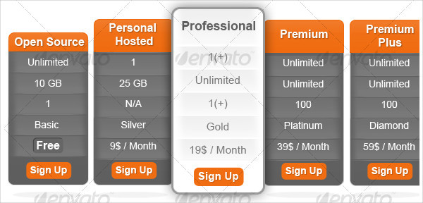 Professional Pricing Tables