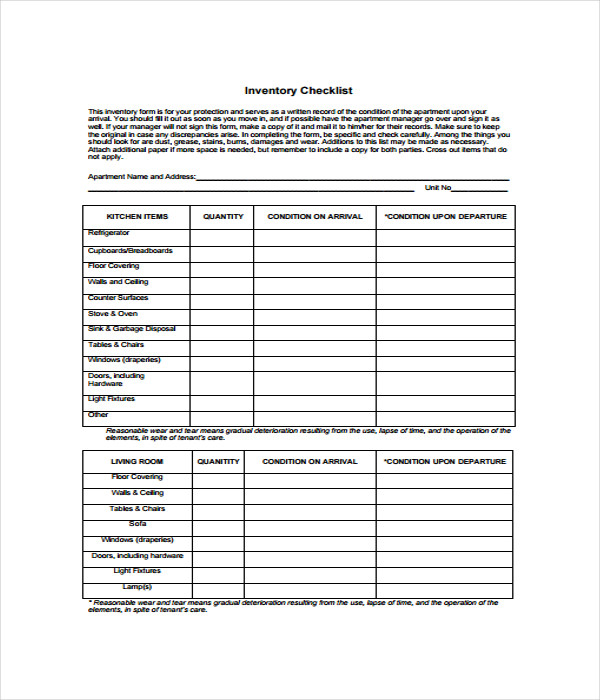 Inventory List Form InventoryListTemplate Printable Pdf