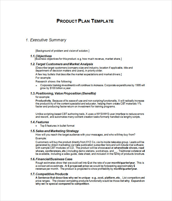 Plan Templates 21 Free Word PDF Documents Download – Product Plan Template