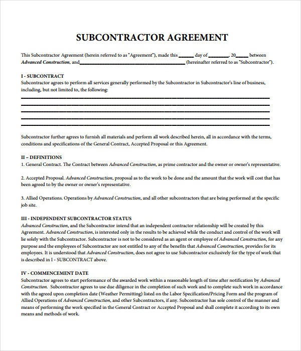 Agreement templates 31 free word pdf documents download for Subcontractors agreement template