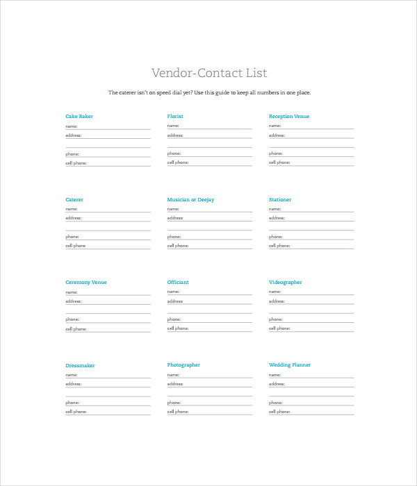 Vendor List Template