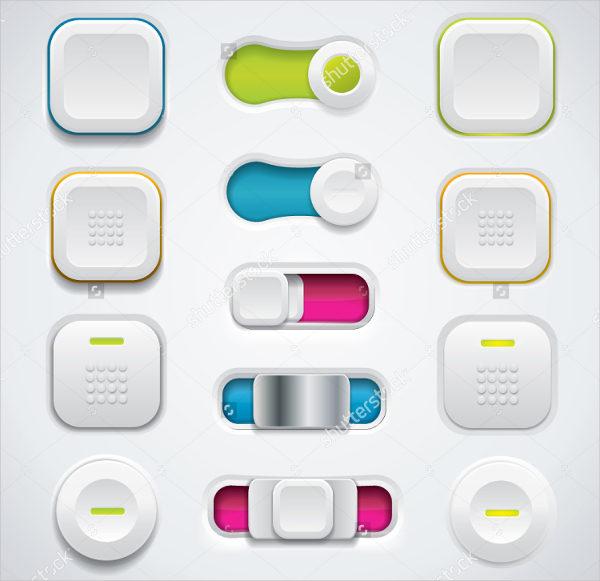 3D Flat Design Ui Button Set
