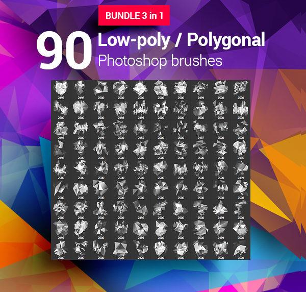 90 Geometrical Photoshop Brushes Bundle