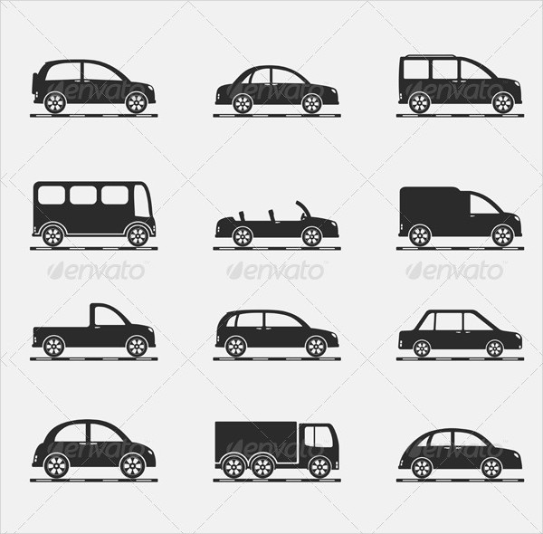 Set of Icons of Different Cars