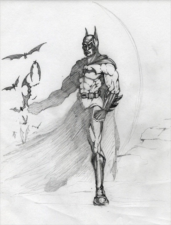 Black & White Batman Drawing