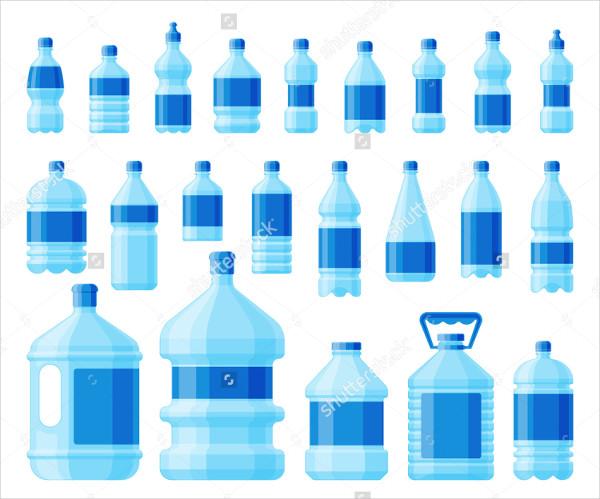 Vector Water Bottle Labels Set