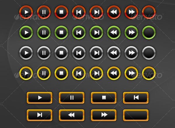 Clean Multimedia Button Set