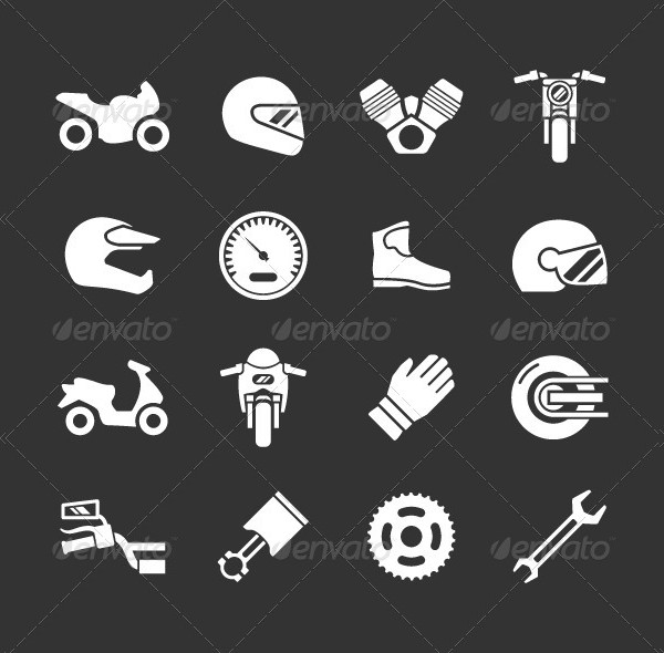 Collection Of Motor Cycle Icons