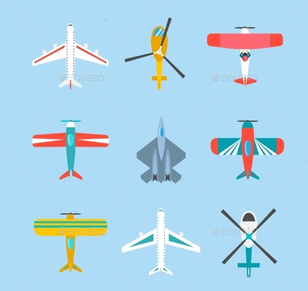 Color Airplanes And Helicopters Icons Set