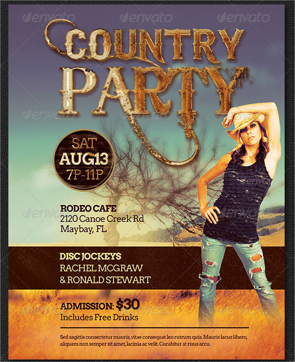 Country Western Party Flyer Template