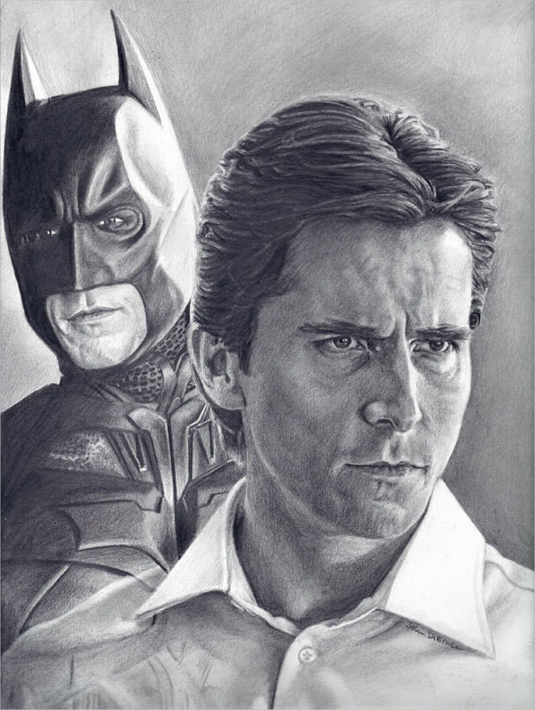 Drawing of Christian Bale as Batman