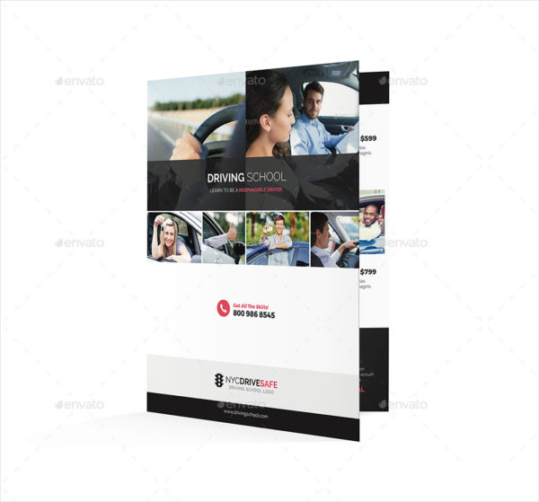Driving School Half Fold Brochure