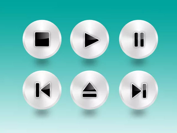 Free Metal Player Buttons PSD Download
