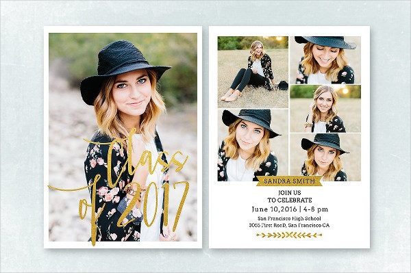 Gold foil Graduation Card Template