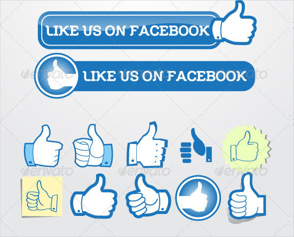 Like Facebook Buttons Set