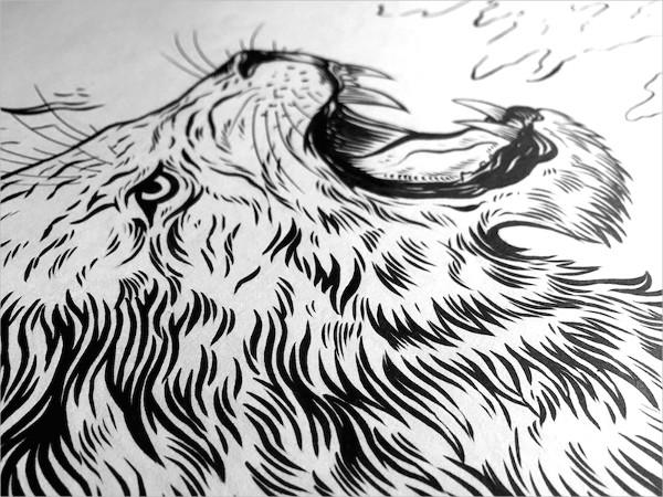 Lion Roar Drawing