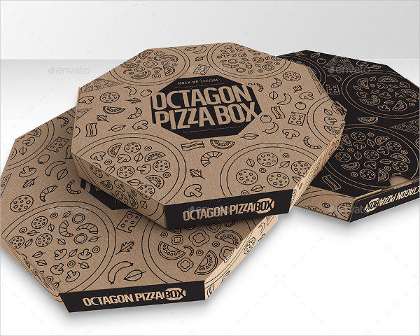 Packaging Mock-up Octagon Pizza Box