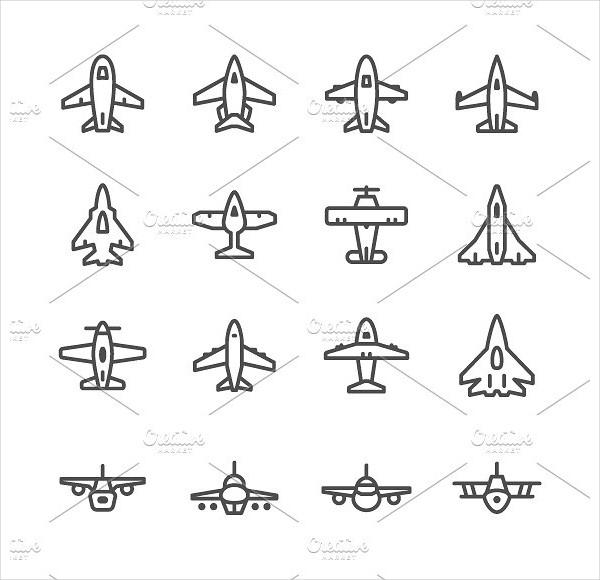 Set Line Icons of Plane
