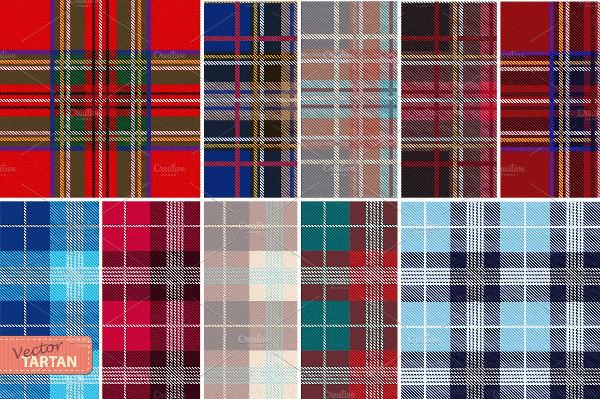Set of 10 seamless tartan patterns