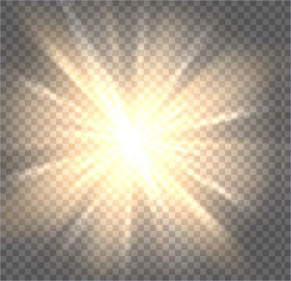 Sun Rays on Transparent Background