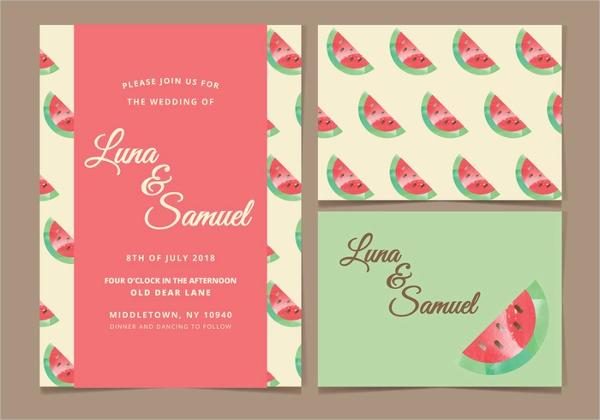 Watermelon Vector Wedding Invitation Card