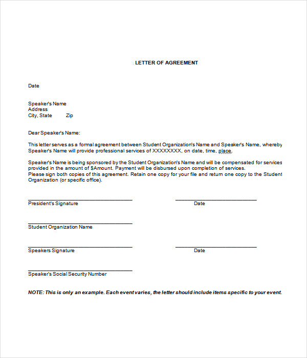 Agreement Letter Template Doc Format
