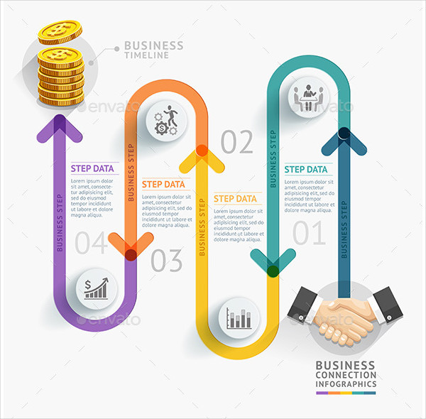 Business Connection Timeline Infographics