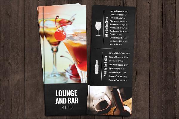 Bar and Lounge Drink Menu Templates